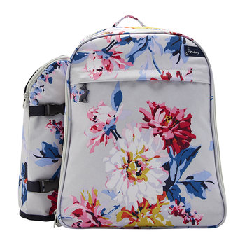 Four Person Picnic Rucksack - Grey Whitstable Floral
