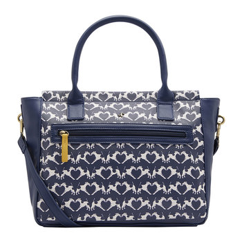Day To Day Printed Everyday Bag - Navy Fox Terrier Geo