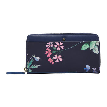 Fairford Printed Canvas Wallet - Navy Botanicals