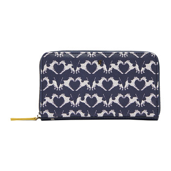 Fairford Printed Purse - Navy Fox Terrier Geo