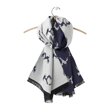 Jacquelyn Reversible Scarf - Navy Fox Terrier