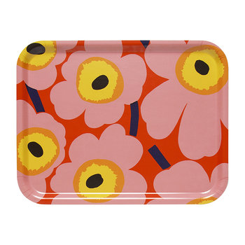 Pieni Unikko Plywood Tray - Orange/Pink/Yellow - 43x33cm