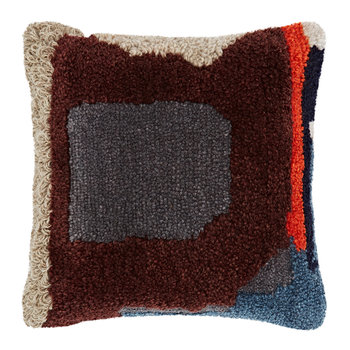 Abstract Hand Tufted Cushion - 45x45cm - Wine
