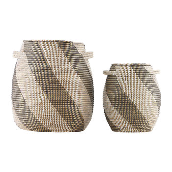Lidded Baskets - White/Grey/Natural - Set of 2