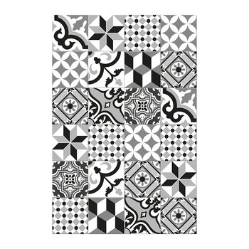 Large Tiles Vinyl Floor Mat - Black/White - 99x150cm