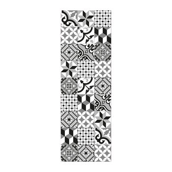 Large Tiles Vinyl Runner - Black/White - 66x198cm