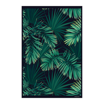Jungle Vinyl Floor Mat - Black/Green - 99x150cm
