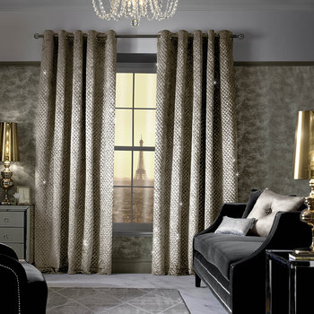 Grazia Lined Eyelet Curtains - Praline