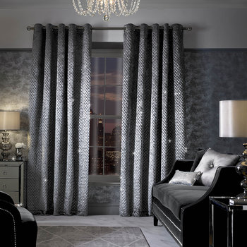 Grazia Lined Eyelet Curtains - Silver