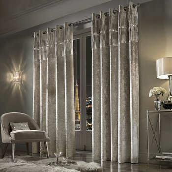 Veda Lined Eyelet Curtains - Praline