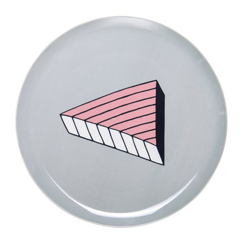 Rio Pizza Plate - Pink/Blue Line