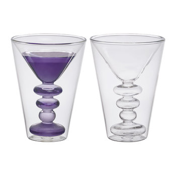 Double Walled Cocktail Glasses - Set of 2 - Martini