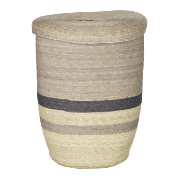 Round Laundry Basket - Multi Stripe - Brown