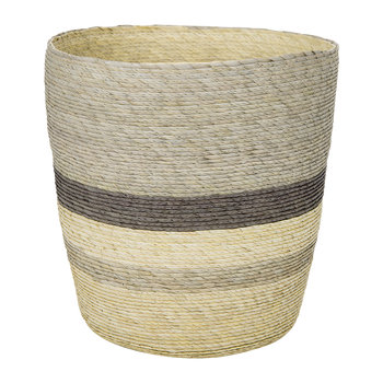 Round Waste Laundry Basket - Multi Stripe - Brown