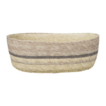 Oval Stripe Basket - Brown