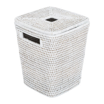 Square Lidded Waste Bin - White