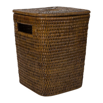 Square Lidded Waste Bin - Teak