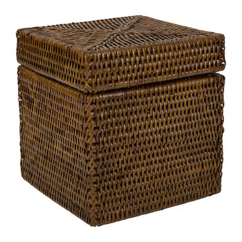 Square Lidded Basket - Teak