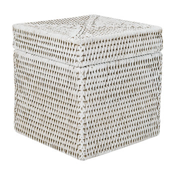 Square Lidded Basket - White