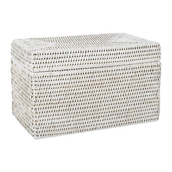 Rectangular Lidded Basket - White