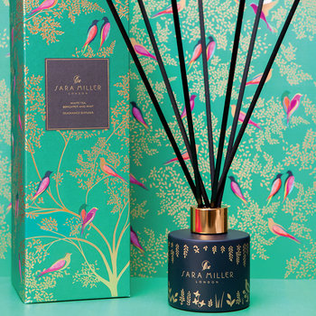 Printed Glass Reed Diffuser - 100ml - White Tea, Bergamot & Mint