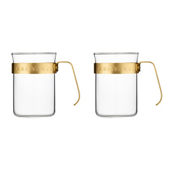 Metal Frame Cups - Set of 2 - Midnight Gold