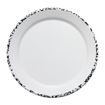 Monochrome Large Plate - Black/White - Patterned Rim