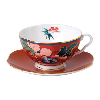 Paeonia Teacup & Saucer - Red