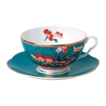 Paeonia Teacup & Saucer - Green