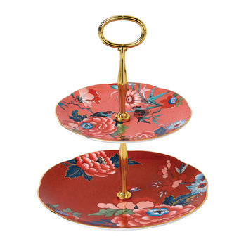 Paeonia Two Tier Cake Stand - Coral/Red