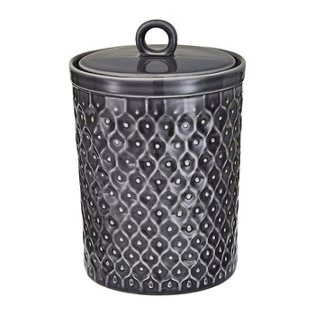 Textured Stoneware Storage Jar - Charcoal
