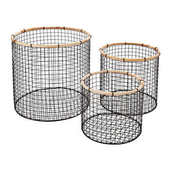 Tall Round Wire Storage Baskets - Set of 3 - Charcoal