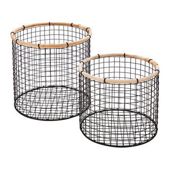 Short Round Wire Storage Baskets - Charcoal - Set of 2