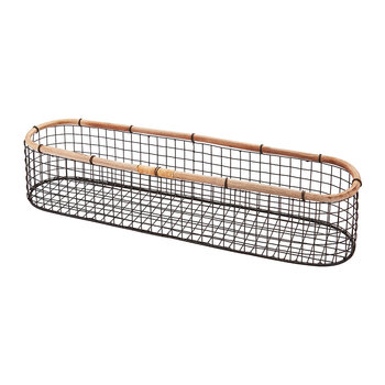 Narrow Wire Storage Basket - Charcoal