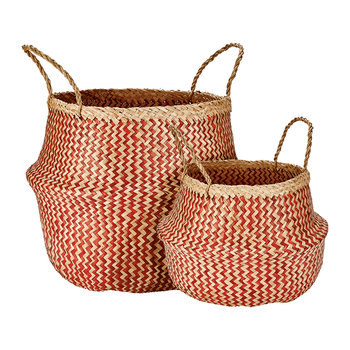 Seagrass Basket - Red/Natural - Set of 2