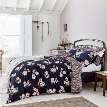 Painted Poppy Duvet Cover - Navy