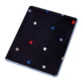 Polka Dot Fleece Throw - Navy/Multi