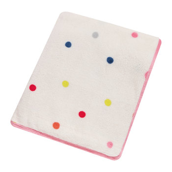 Polka Dot Fleece Throw - White/Multi