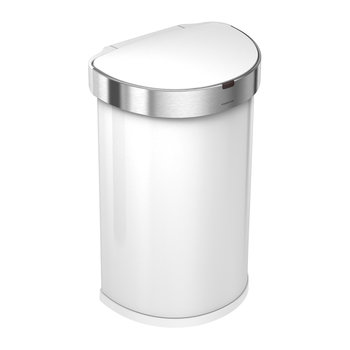 Semi-Round Sensor Bin with Liner Pocket - White