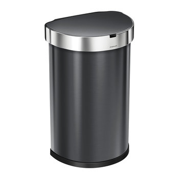 Semi-Round Sensor Bin with Liner Pocket - Black