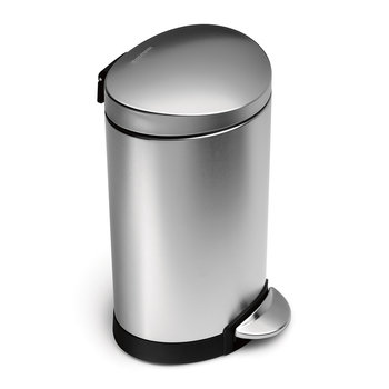 Semi-Round Pedal Bin - 6L - Brushed Steel
