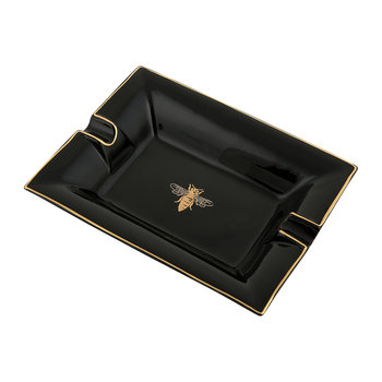 Bee Trinket Tray/Ashtray - Porcelain - Black