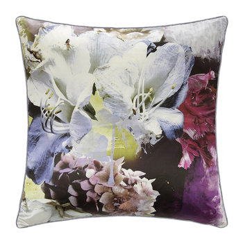 Dark Flower Silk Pillow - Fuchsia