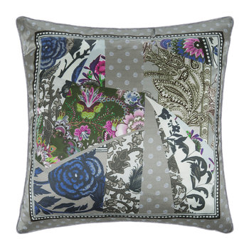Patchwork Silk Cushion - Grey