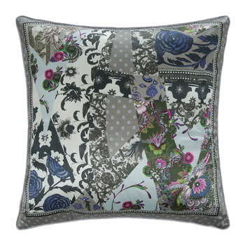 Patchwork Silk Pillow - Gray