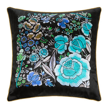 Enchanted Garden Silk Cushion - Light Blue