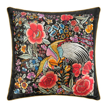 Enchanted Garden Silk Pillow - Red