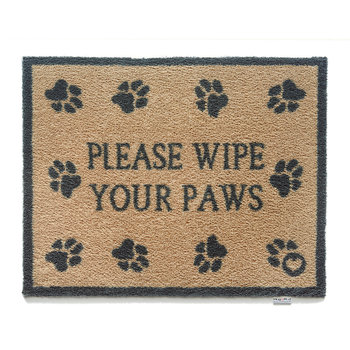 Please Wipe Your Paws Washable Recycled Door Mat - 65x85cm