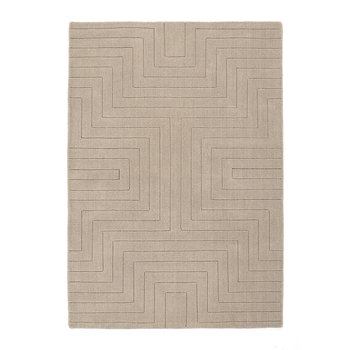 Carved Maze Hand Tufted Wool Rug - 120x170cm - Mink