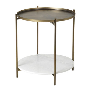 Tristan Table - Marble/Brass - Small